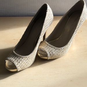 Audrey Brooke sparkly lace Gold Heels